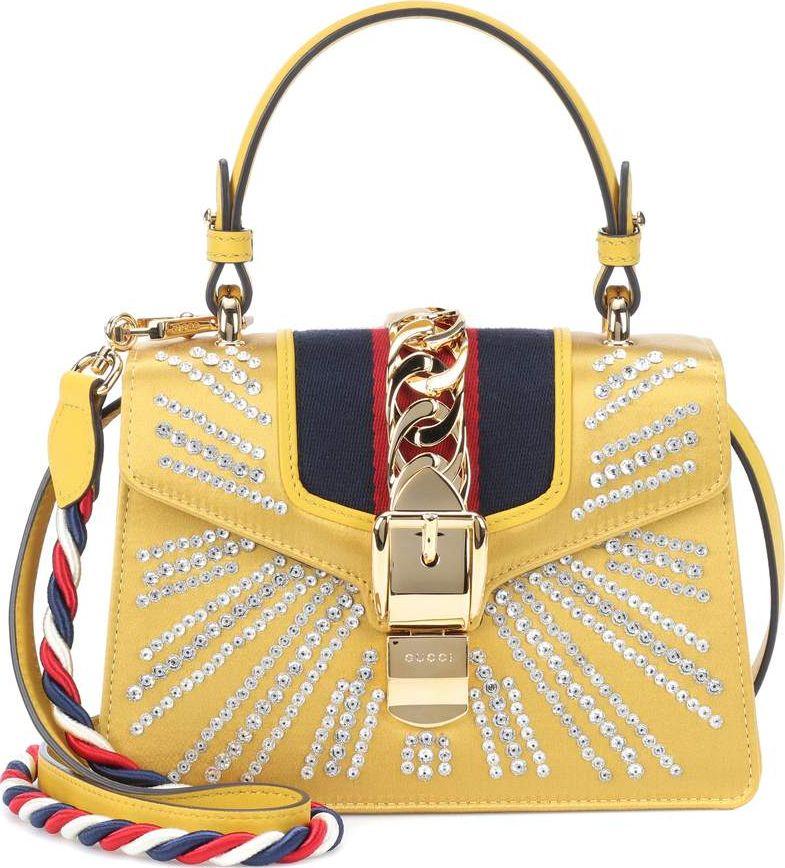 Gucci - Sylvie Mini embellished satin shoulder bag