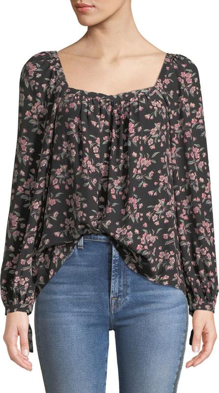 Rebecca Taylor Tilda Floral Shirred Long-Sleeve Charmeuse Top