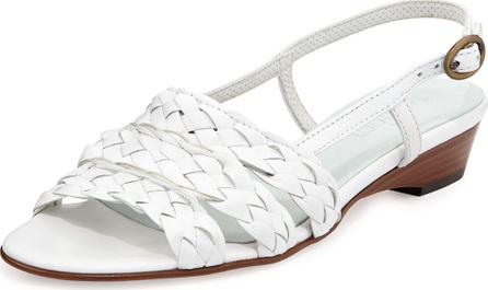 Sesto Meucci Ginny Woven Leather Slingback Sandals, White