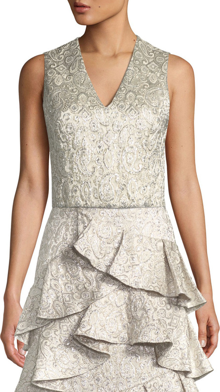 Alice + Olivia Leonie V-Neck Fitted Crop Top