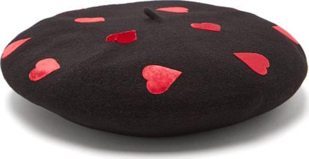Benoît Missolin Velvet heart appliqué wool beret