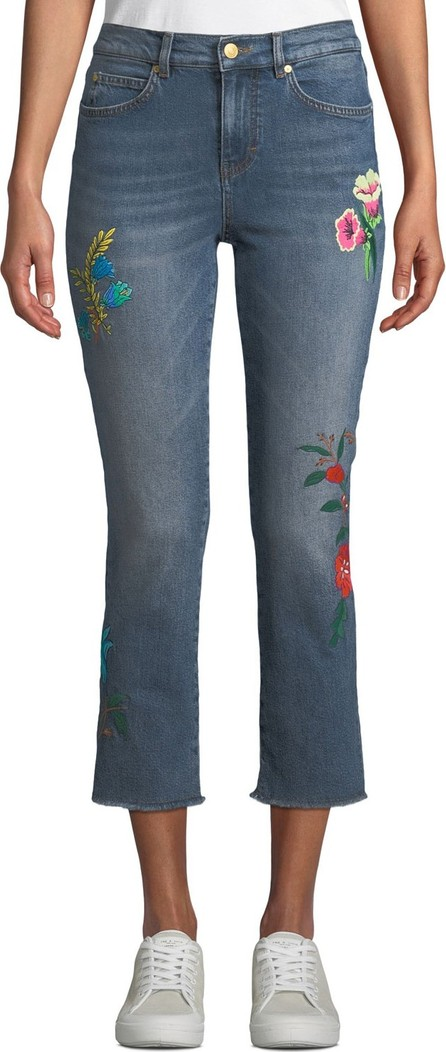 Escada Sport Floral-Embroidered Cropped Straight-Leg Jeans