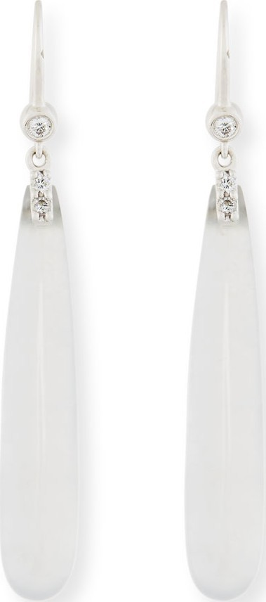 David C.A. Lin Translucent White Jadeite Teardrop Earrings with Diamonds