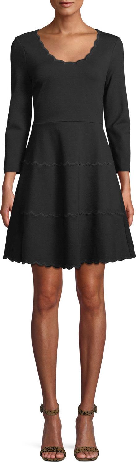 Kate Spade New York scoop-neck mini dress in scalloped ponte