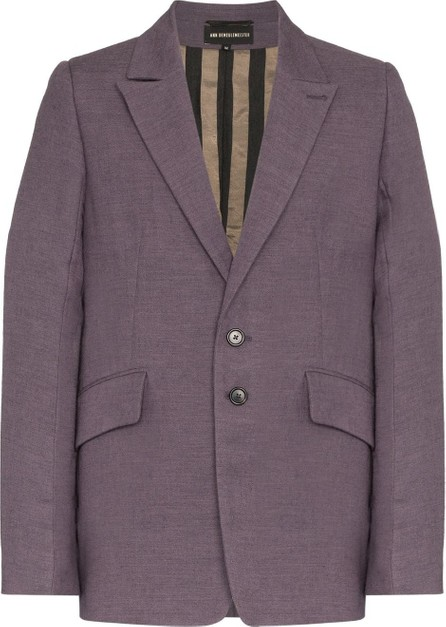 Ann Demeulemeester Purple Boxy Wool and Cotton Blazer Jacket
