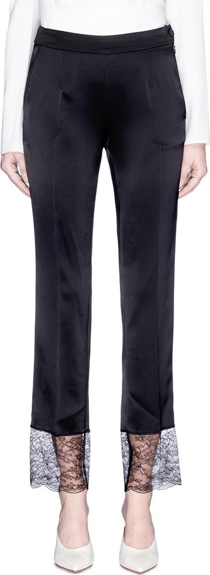 Lanvin Guipure lace cuff satin cropped pants