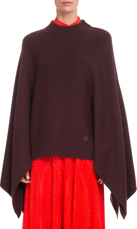 Givenchy Oversized Cashmere Cape-Sleeve Sweater w/ Small 4G Logo
