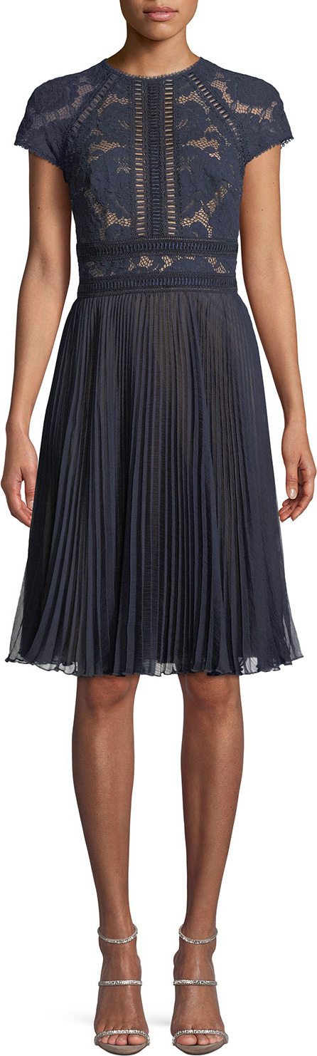Tadashi Shoji Short-Sleeve Lace & Pleated Jacquard Cocktail Dress