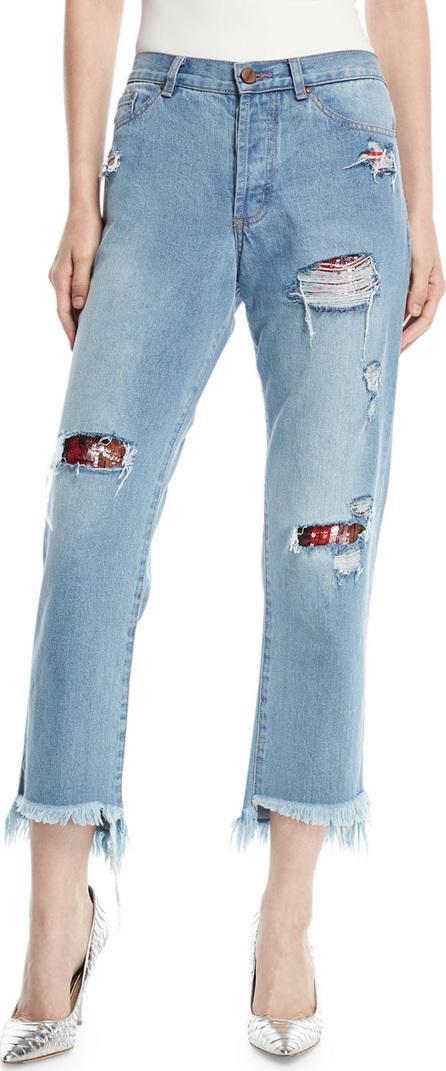 Johanna Ortiz Taco De Alarcon Straight-Leg Distressed Boyfriend Jeans w/ Sequin Patches