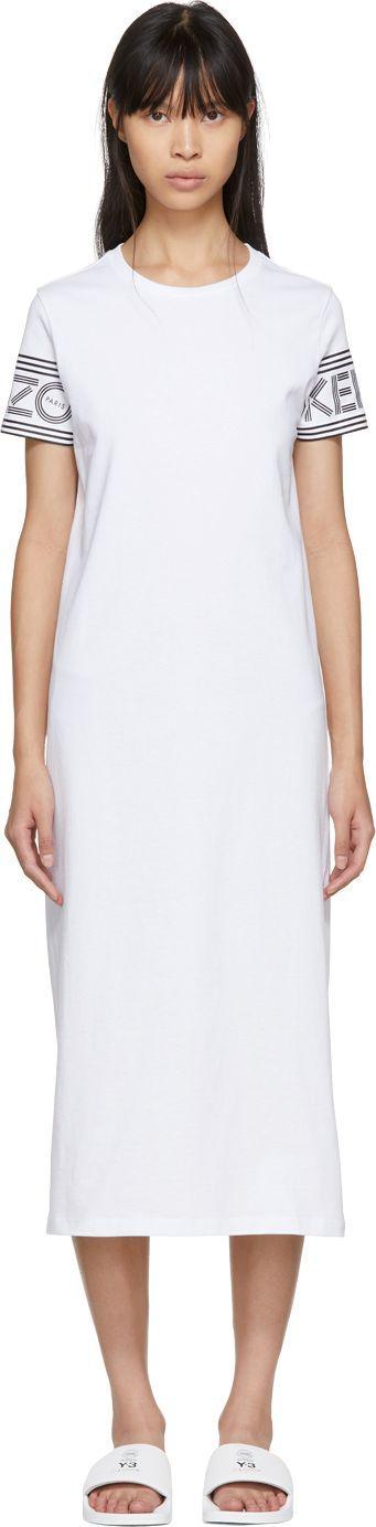 KENZO White Logo T-Shirt Dress