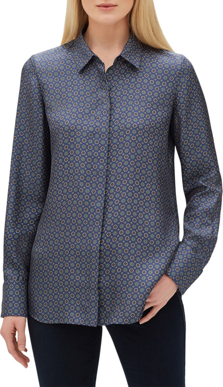 Lafayette 148 New York Scottie Silk Foulard Blouse