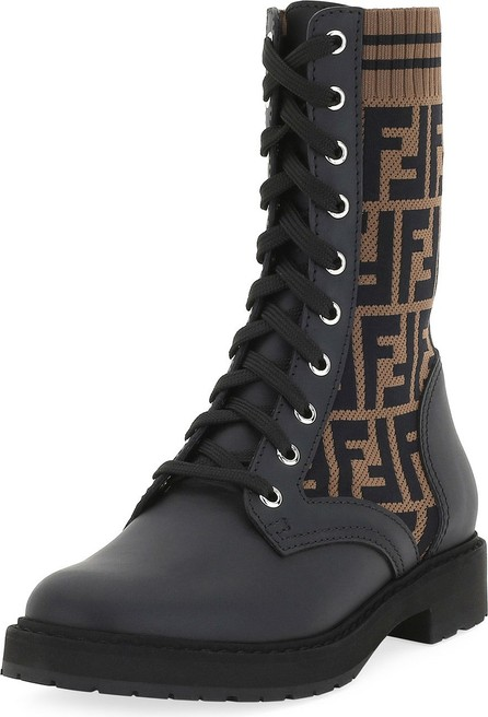 Fendi Leather and FF Combat Boots
