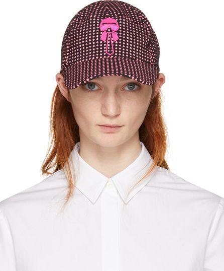 Fendi Black & Pink Karlito Polka Dot Cap