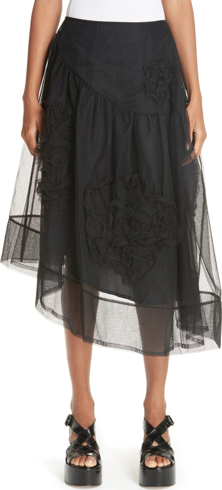 Simone Rocha Ruched Flower Tulle Skirt