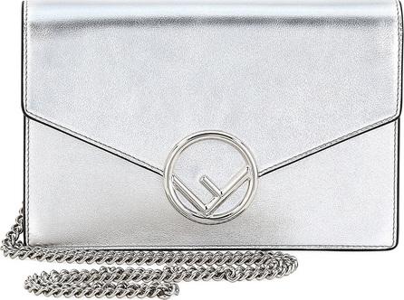 Fendi F Logo Mirror Calf Wallet On A Chain, Silver