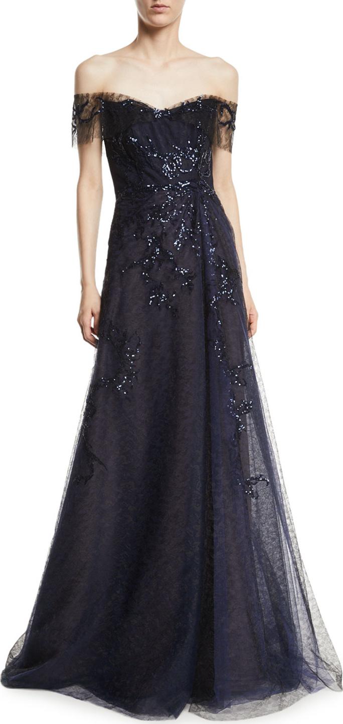 RENE RUIZ Off-the-Shoulder Beaded Gown in Black - mkt