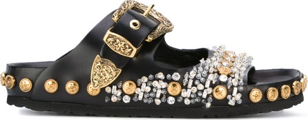 Fausto Puglisi beaded studded sandals