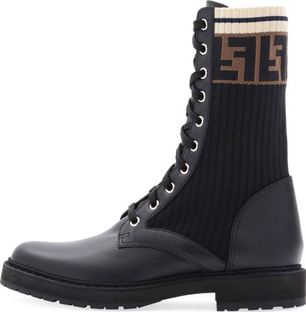 Fendi LEATHER COMBAT BOOT WITH FF