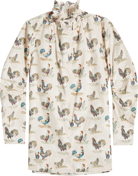 Carven Rooster Print Cotton Blouse