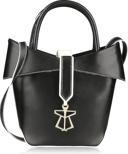 Lara Bellini Lady Mini Black Leather Bucket Bag