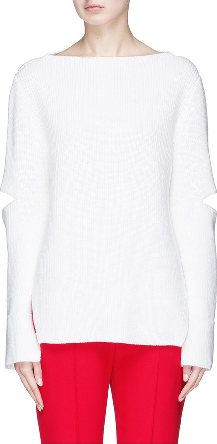 Stella McCartney Split back cutout sleeve rib knit sweater