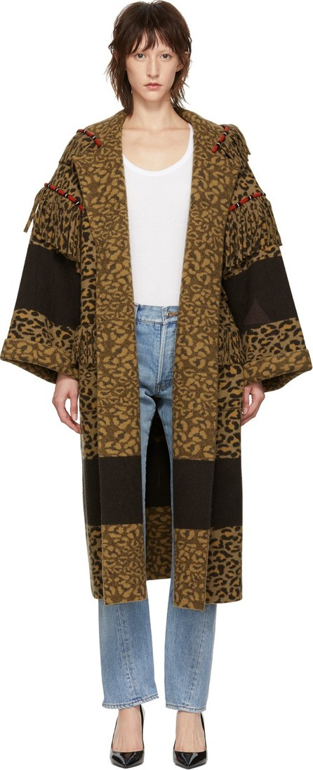 Alanui Brown Animal Pattern Coat