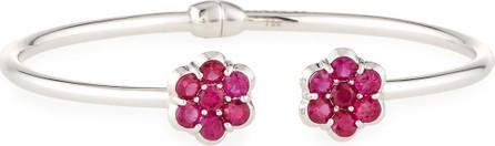 Bayco 18K White Gold & Ruby Floral Cuff Bracelet