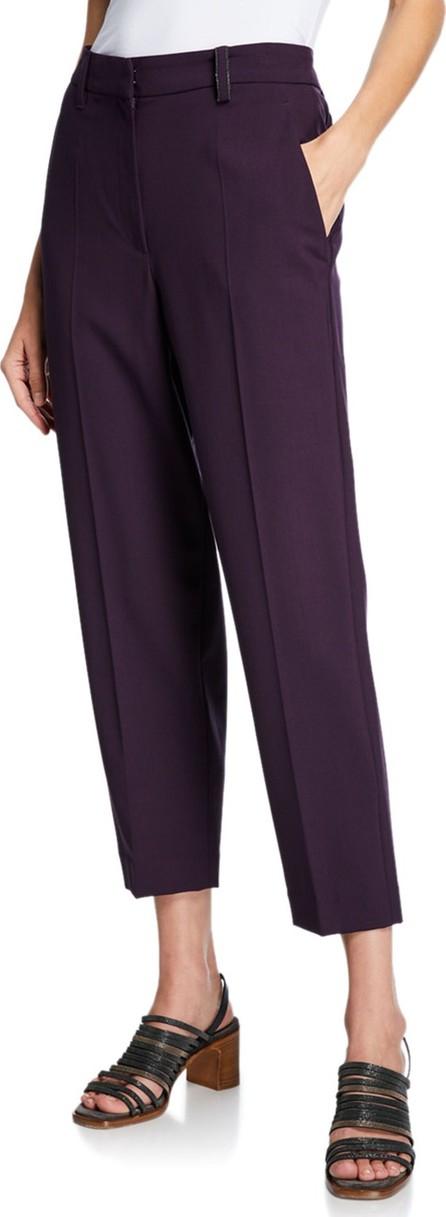 Brunello Cucinelli Monili-Beaded Lightweight Wool Pants