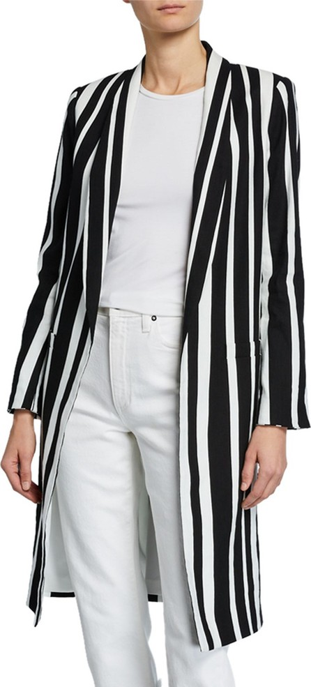 Alice + Olivia Kylie Striped Long Easy Jacket