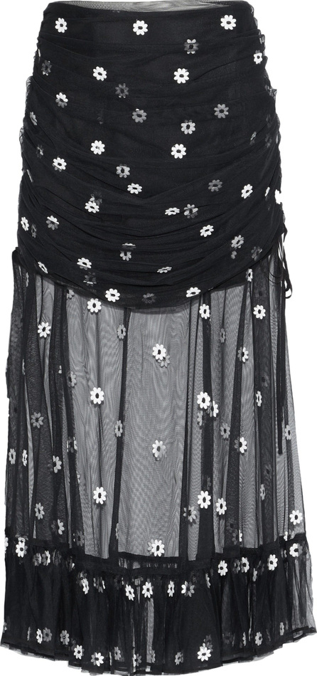 Alice McCall Lace-up ruched embroidered tulle midi skirt