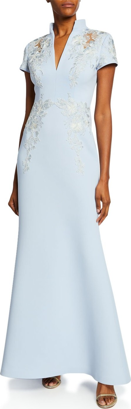 Badgley Mischka Embroidered Scuba Stand-Collar Gown