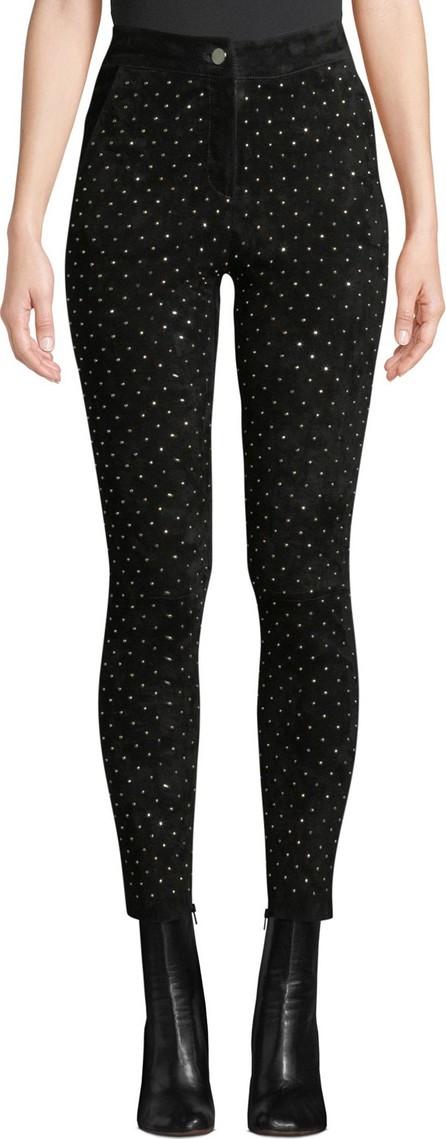 Nour Hammour High-Waist Studded Suede Skinny-Leg Jeans
