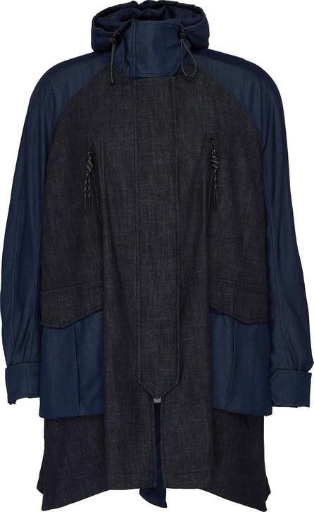 Angel Chen Graphic embroidered hooded colourblock unisex denim windbreaker jacket
