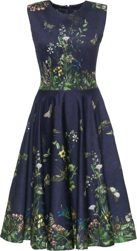 Lena Hoschek Pleated Floral-Print Cotton Blend-Satin Dress