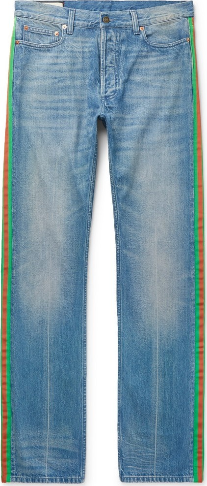 Gucci Webbing-Trimmed Denim Jeans