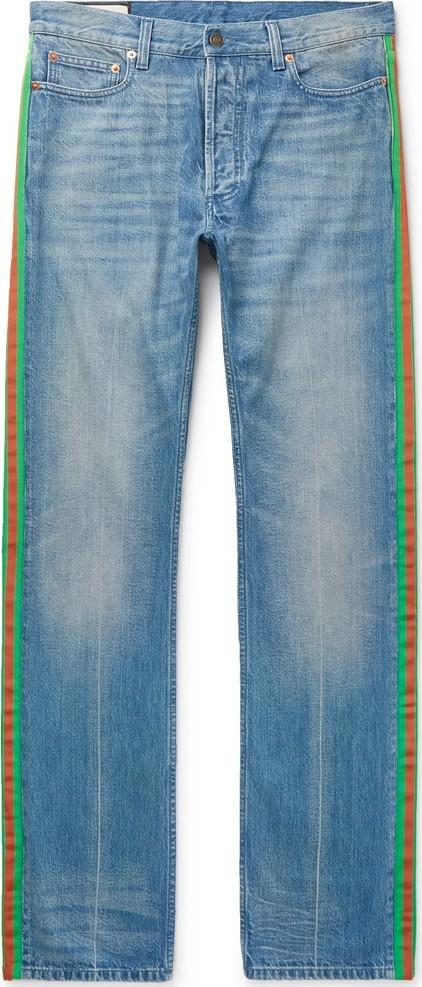 Gucci Webbing-Trimmed Denim Jeans