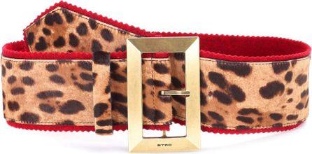 Etro Leopard calf hair belt-printed