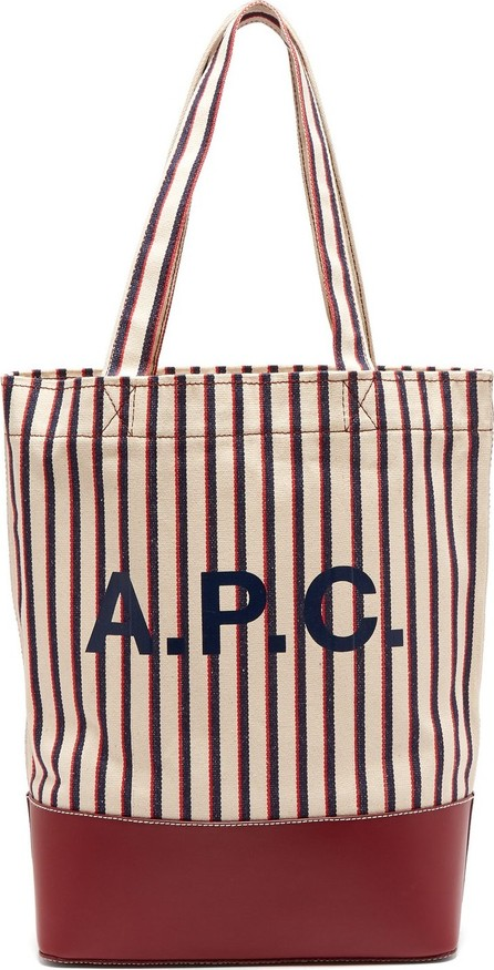 A.P.C. Axelle striped canvas and leather tote bag