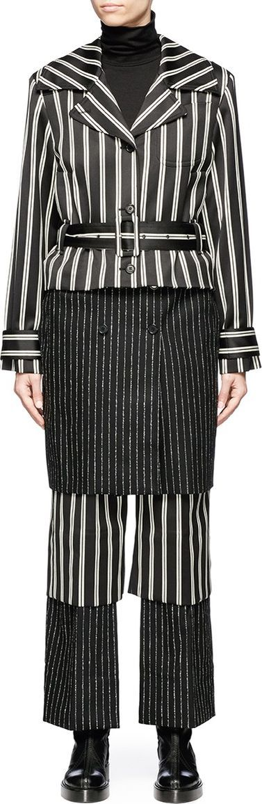 Aalto Belted panelled stripe wool blend trench coat