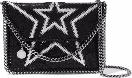 Stella McCartney Falabella mini embroidered faux brushed-leather shoulder bag