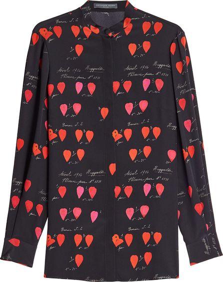 Alexander McQueen Petal Printed Silk Blouse