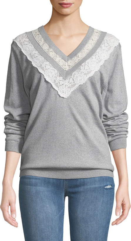 Rebecca Taylor Lace Combo V-Neck Pullover Sweater