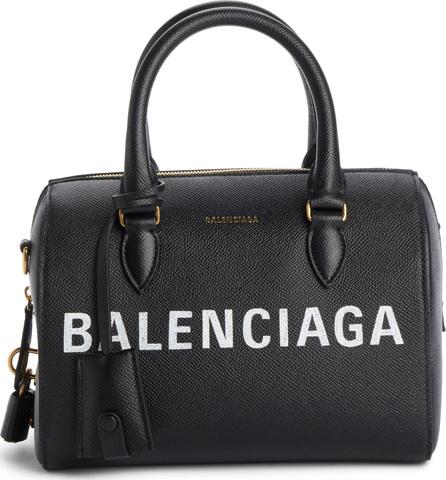 Balenciaga Ville Logo Leather Bowling Satchel