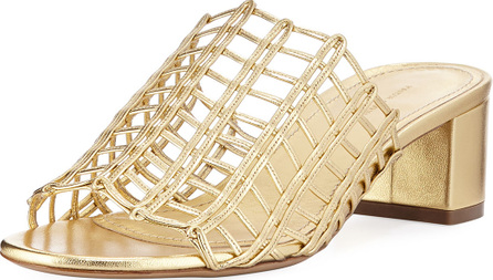 Mansur Gavriel Grid Metallic Leather Cutout Block-Heel Mule Slide Sandal