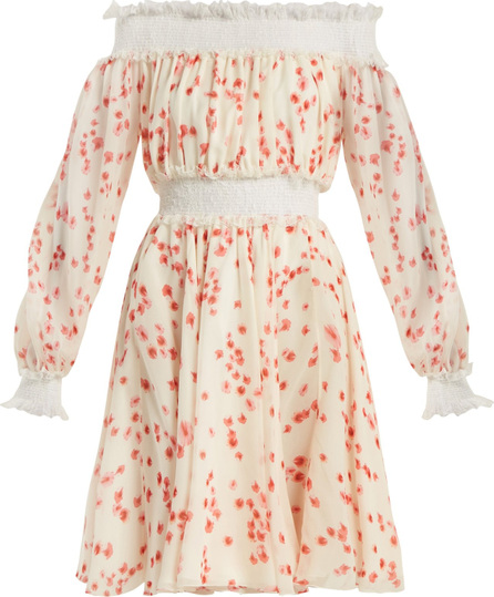 Giambattista Valli Petal-print silk-chiffon off-the-shoulder dress