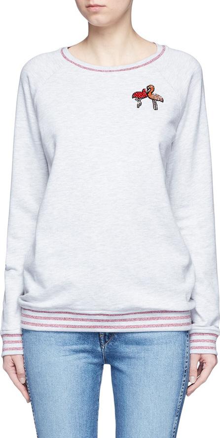 GIAMBA Flamingo sequin appliqué glitter stripe sweatshirt