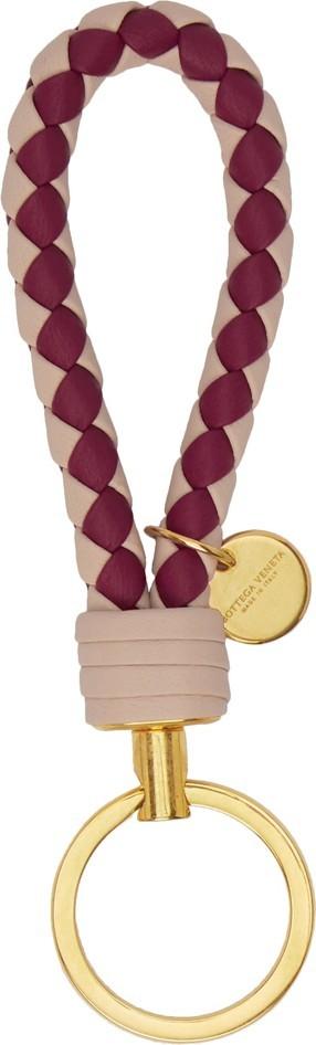 Bottega Veneta Beige & Burgundy Bicolor Intrecciato Keychain
