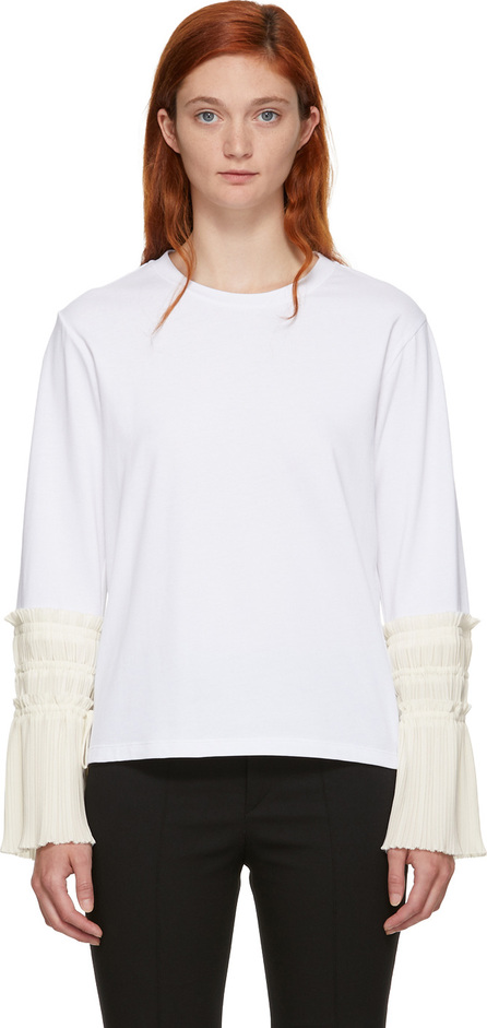 3.1 Phillip Lim White Long Sleeve Pleated Cuff T-Shirt