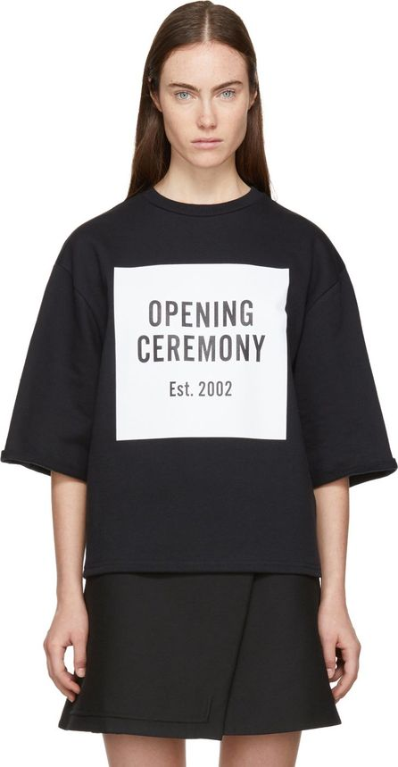 Opening Ceremony Black Short Sleeve Logo Cut-Off Sweatshirt