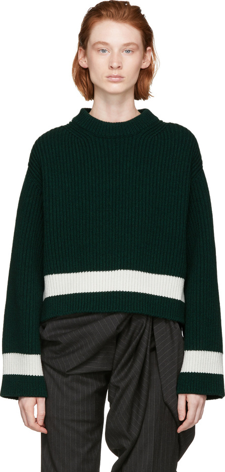 Alexander McQueen Green Striped Crewneck Sweater